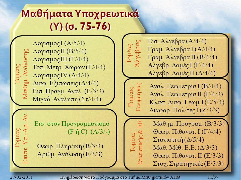 Ενημέρωση για το Πρόγραμμα στο Τμήμα Μαθηματικών ΑΠΘ 11/37 Μαθήματα Υποχρεωτικά ( Υ ) ( σ. 75-76) Μαθημ. Προγραμ. (Β/3/3) Θεωρ. Πιθανοτ. Ι (Γ/4/4) Στα