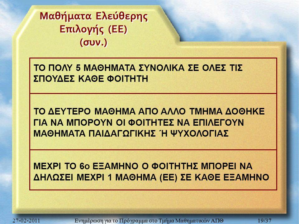 Ενημέρωση για το Πρόγραμμα στο Τμήμα Μαθηματικών ΑΠΘ 19/37 Μαθήματα Ελεύθερης Επιλογής ( ΕΕ ) ( συν.) ΤΟ ΠΟΛΥ 5 ΜΑΘΗΜΑΤΑ ΣΥΝΟΛΙΚΑ ΣΕ ΟΛΕΣ ΤΙΣ ΣΠΟΥΔΕΣ