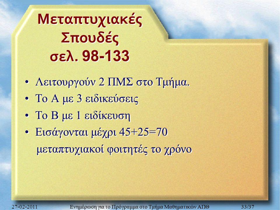 Ενημέρωση για το Πρόγραμμα στο Τμήμα Μαθηματικών ΑΠΘ 33/37 Μεταπτυχιακές Σπουδές σελ. 98-133 Λειτουργούν 2 ΠΜΣ στο Τμήμα. Το Α με 3 ειδικεύσεις Το Β μ