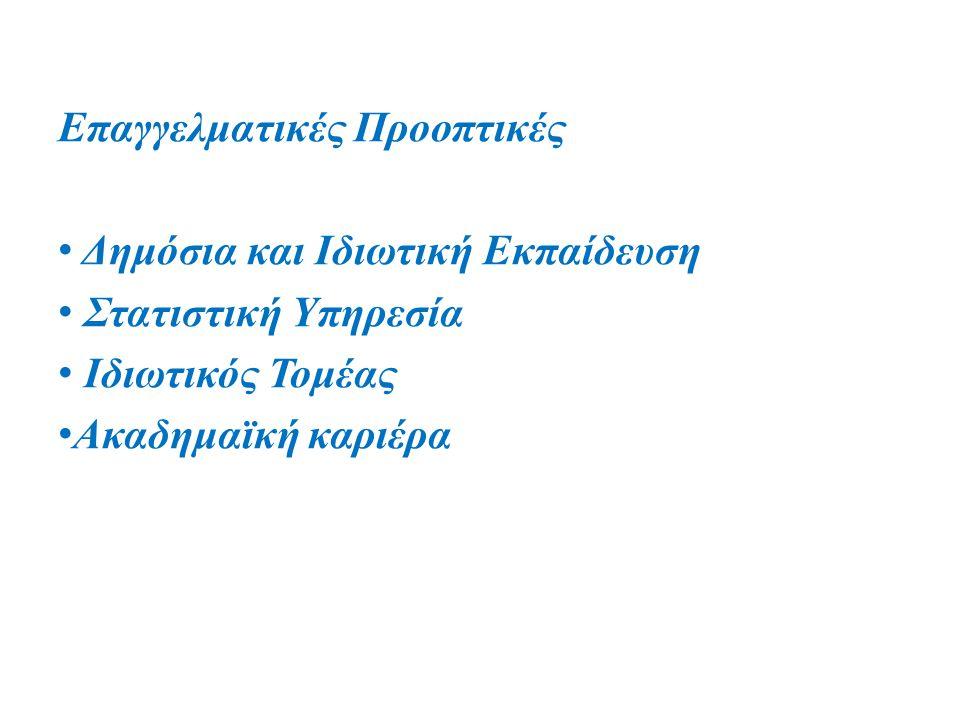 Επαγγελματικές Προοπτικές Δημόσια και Ιδιωτική Εκπαίδευση Στατιστική Υπηρεσία Ιδιωτικός Τομέας Ακαδημαϊκή καριέρα