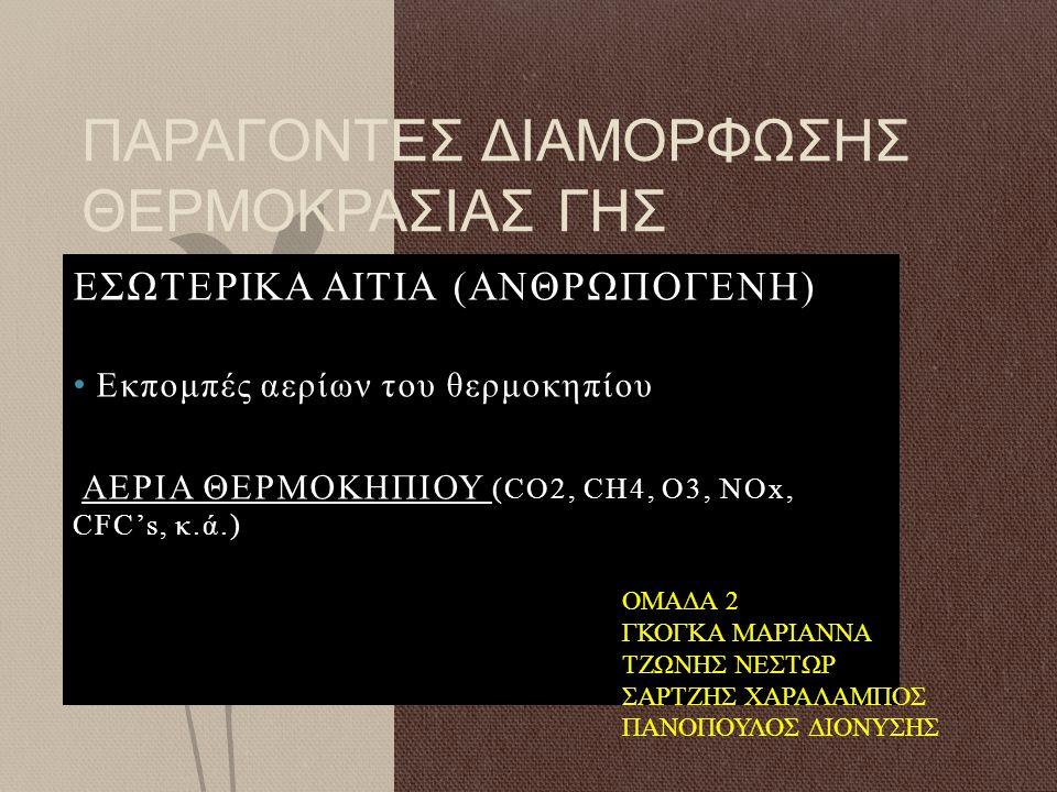 ΕΣΩΤΕΡΙΚΑ ΑΙΤΙΑ (ΑΝΘΡΩΠΟΓΕΝΗ) Εκπομπές αερίων του θερμοκηπίου ΑΕΡΙΑ ΘΕΡΜΟΚΗΠΙΟΥ (CO2, CH4, O3, NOx, CFC's, κ.ά.) ΠΑΡΑΓΟΝΤΕΣ ΔΙΑΜΟΡΦΩΣΗΣ ΘΕΡΜΟΚΡΑΣΙΑΣ Γ
