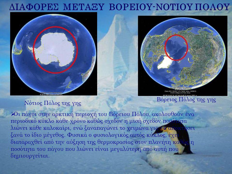 Νότιος Πόλος της γης Βόρειος Πόλος της γης ΔΙΑΦΟΡΕΣ ΜΕΤΑΞΥ ΒΟΡΕΙΟΥ-ΝΟΤΙΟΥ ΠΟΛΟΥ  Οι πάγοι στην αρκτική περιοχή του Βόρειου Πόλου, ακολουθούν ένα περι
