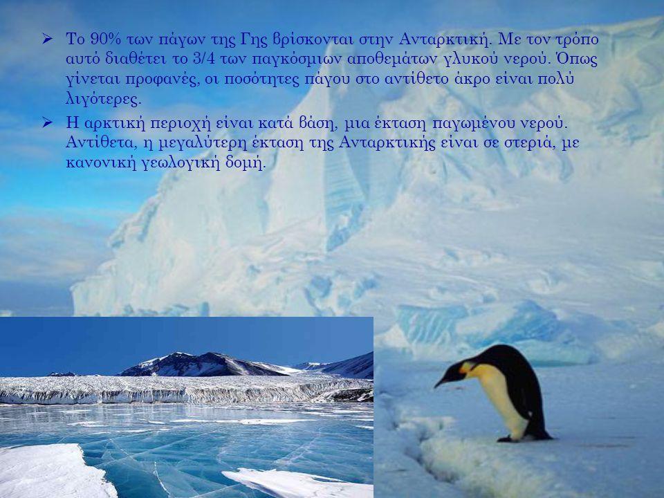  Το 90% των πάγων της Γης βρίσκονται στην Ανταρκτική. Με τον τρόπο αυτό διαθέτει το 3/4 των παγκόσμιων αποθεμάτων γλυκού νερού. Όπως γίνεται προφανές