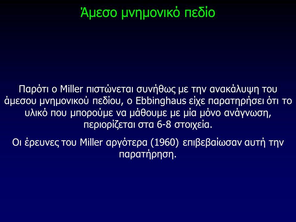 Άμεσο μνημονικό πεδίο Παρότι ο Miller πιστώνεται συνήθως με την ανακάλυψη του άμεσου μνημονικού πεδίου, ο Ebbinghaus είχε παρατηρήσει ότι το υλικό που