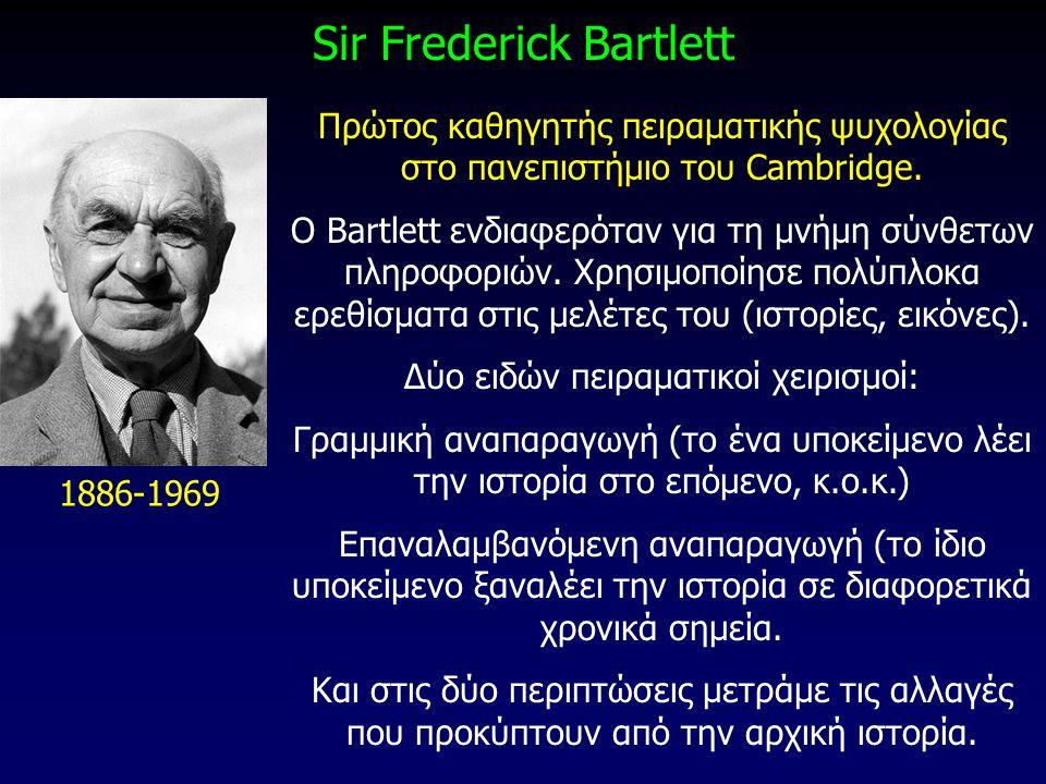 Sir Frederick Bartlett 1886-1969 Πρώτος καθηγητής πειραματικής ψυχολογίας στο πανεπιστήμιο του Cambridge. O Bartlett ενδιαφερόταν για τη μνήμη σύνθετω