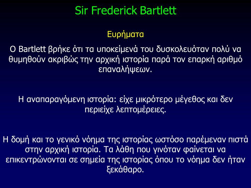 Sir Frederick Bartlett Ευρήματα O Bartlett βρήκε ότι τα υποκείμενά του δυσκολευόταν πολύ να θυμηθούν ακριβώς την αρχική ιστορία παρά τον επαρκή αριθμό
