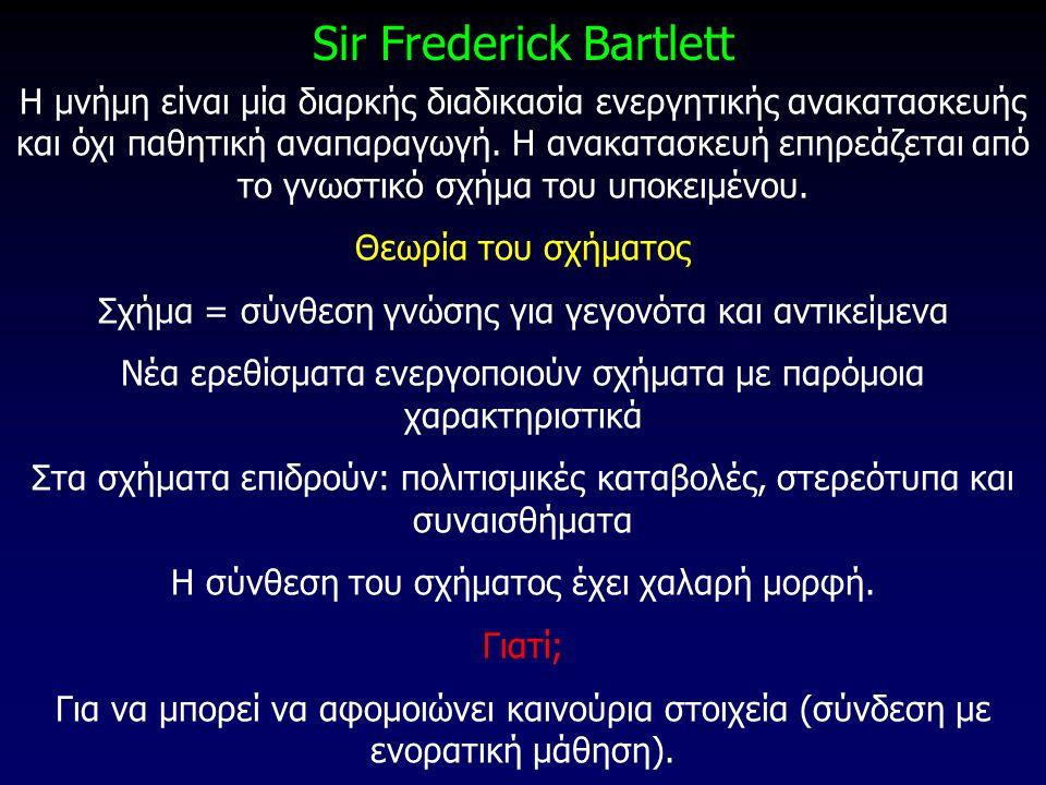 Sir Frederick Bartlett Η μνήμη είναι μία διαρκής διαδικασία ενεργητικής ανακατασκευής και όχι παθητική αναπαραγωγή. Η ανακατασκευή επηρεάζεται από το