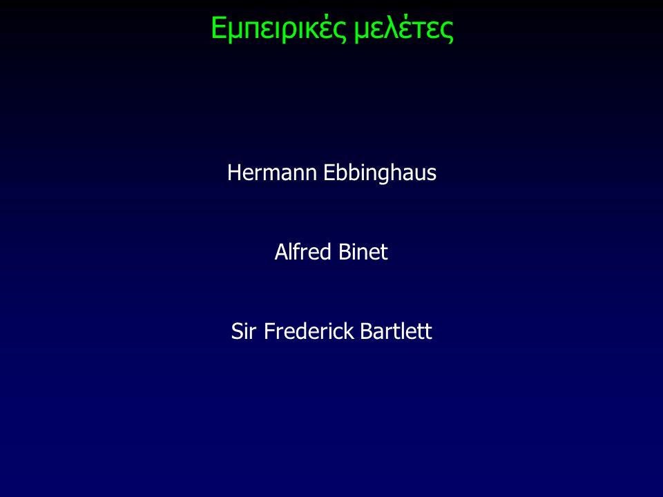 Εμπειρικές μελέτες Hermann Ebbinghaus Alfred Binet Sir Frederick Bartlett