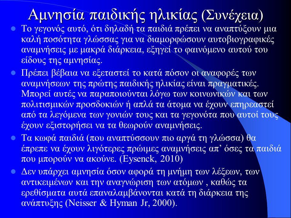 Αμνησία παιδικής ηλικίας (Συνέχεια) Το γεγονός αυτό, ότι δηλαδή τα παιδιά πρέπει να αναπτύξουν μια καλή ποσότητα γλώσσας για να διαμορφώσουν αυτοβιογρ