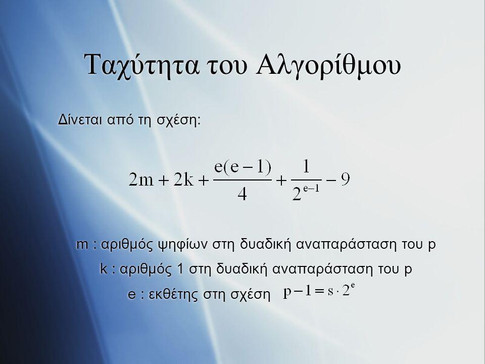 Ταχύτητα του Αλγορίθμου Δίνεται από τη σχέση: m : αριθμός ψηφίων στη δυαδική αναπαράσταση του p k : αριθμός 1 στη δυαδική αναπαράσταση του p e : εκθέτ
