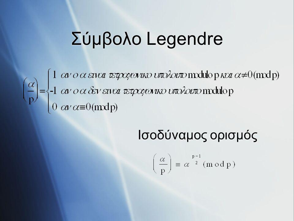Περιγραφή Αλγορίθμου Είσοδοι: p και α Έλεγχος αν p πρώτος (τεστ Miller-Rabin) Έλεγχος αν α τετραγωνικό υπόλοιπο (με υπολογισμό του συμβόλου Legendre) Είσοδοι: p και α Έλεγχος αν p πρώτος (τεστ Miller-Rabin) Έλεγχος αν α τετραγωνικό υπόλοιπο (με υπολογισμό του συμβόλου Legendre)