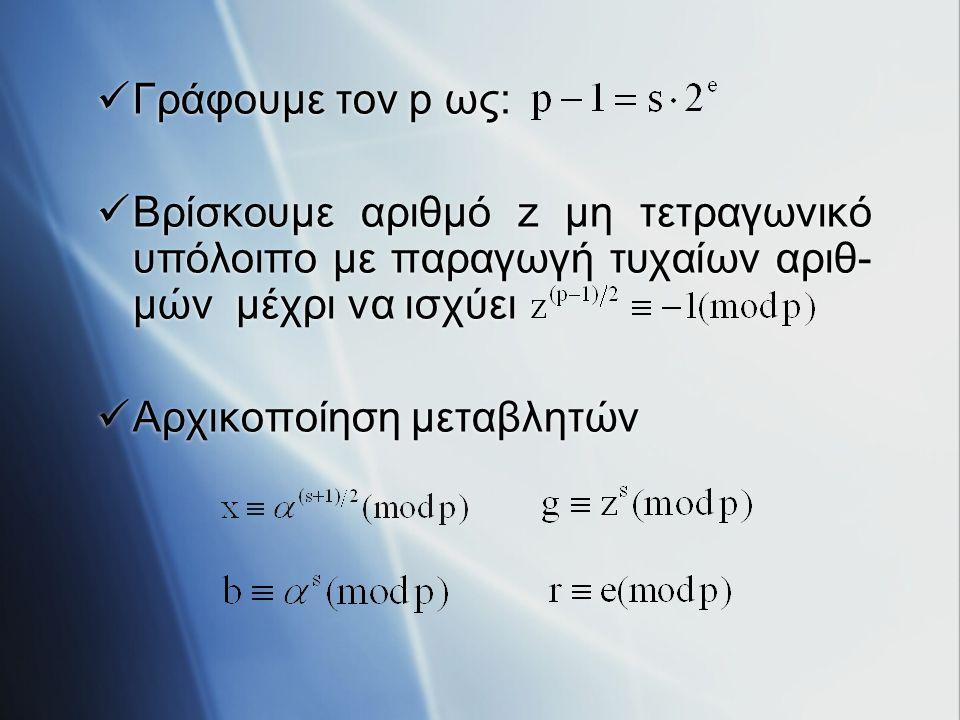 Γράφουμε τον p ως: Βρίσκουμε αριθμό z μη τετραγωνικό υπόλοιπο με παραγωγή τυχαίων αριθ- μών μέχρι να ισχύει Αρχικοποίηση μεταβλητών Γράφουμε τον p ως: