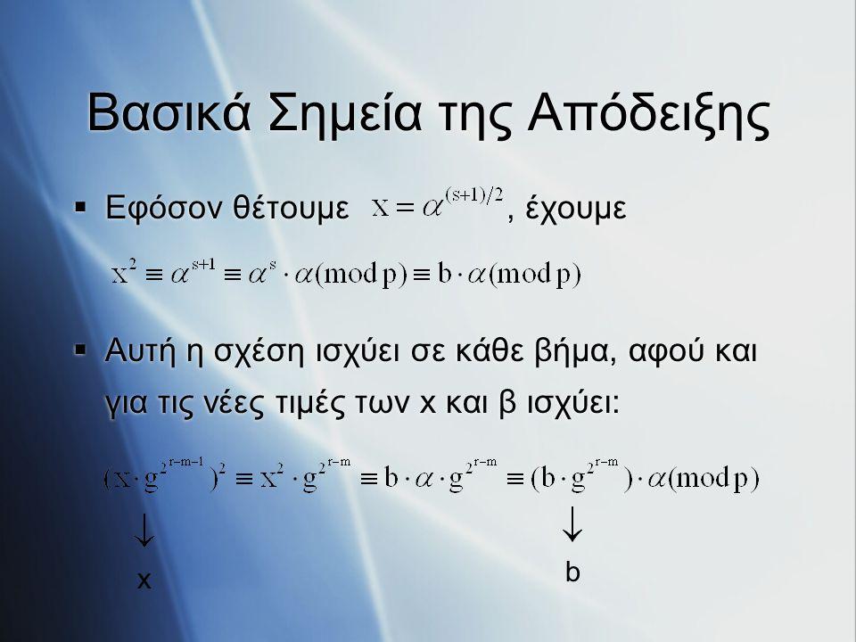 Βασικά Σημεία της Απόδειξης  Εφόσον θέτουμε, έχουμε  Αυτή η σχέση ισχύει σε κάθε βήμα, αφού και για τις νέες τιμές των x και β ισχύει:  Εφόσον θέτο