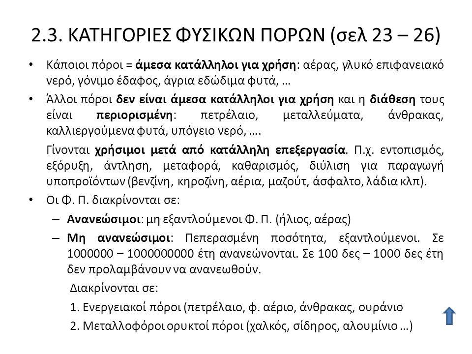 2.3. ΚΑΤΗΓΟΡΙΕΣ ΦΥΣΙΚΩΝ ΠΟΡΩΝ (σελ 23 – 26) Κάποιοι πόροι = άμεσα κατάλληλοι για χρήση: αέρας, γλυκό επιφανειακό νερό, γόνιμο έδαφος, άγρια εδώδιμα φυ