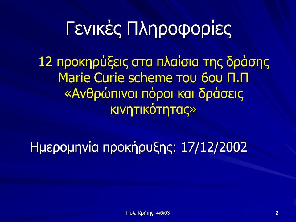 Πολ. Κρήτης, 4/6/03 2 Γενικές Πληροφορίες 12 προκηρύξεις στα πλαίσια της δράσης Marie Curie scheme του 6ου Π.Π «Ανθρώπινοι πόροι και δράσεις κινητικότ