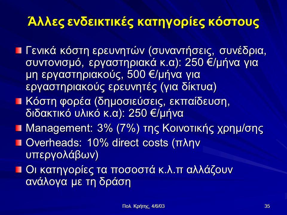 Πολ. Κρήτης, 4/6/03 35 Άλλες ενδεικτικές κατηγορίες κόστους Γενικά κόστη ερευνητών (συναντήσεις, συνέδρια, συντονισμό, εργαστηριακά κ.α): 250 €/μήνα γ