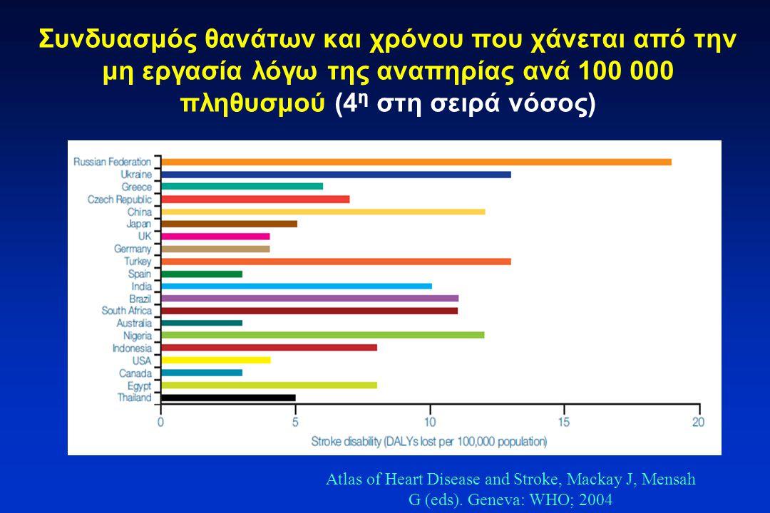 Συνδυασμός θανάτων και χρόνου που χάνεται από την μη εργασία λόγω της αναπηρίας ανά 100 000 πληθυσμού (4 η στη σειρά νόσος) Atlas of Heart Disease and