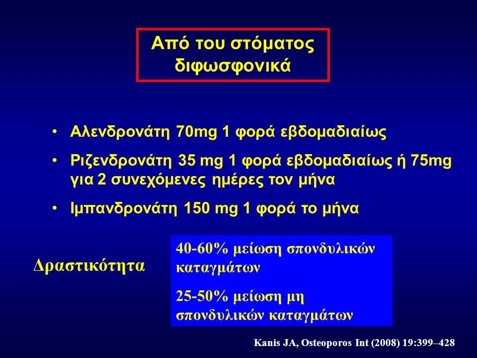 Από του στόματος διφωσφονικά Αλενδρονάτη 70mg 1 φορά εβδομαδιαίως Ριζενδρονάτη 35 mg 1 φορά εβδομαδιαίως ή 75mg για 2 συνεχόμενες ημέρες τον μήνα Ιμπα