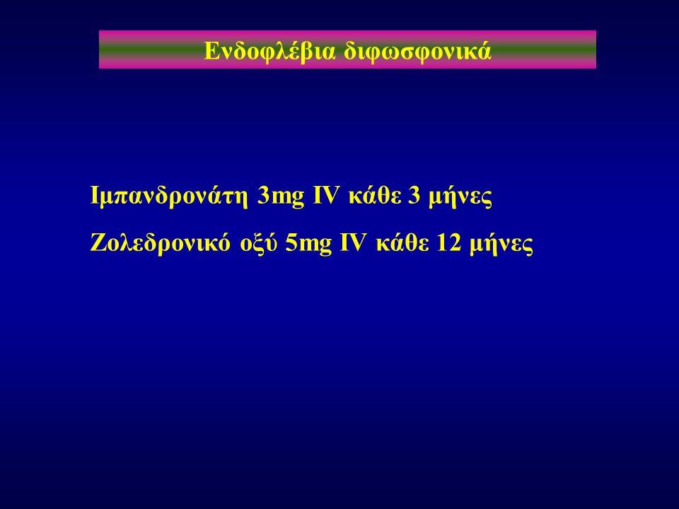 Ενδοφλέβια διφωσφονικά Ιμπανδρονάτη 3mg IV κάθε 3 μήνες Ζολεδρονικό οξύ 5mg IV κάθε 12 μήνες