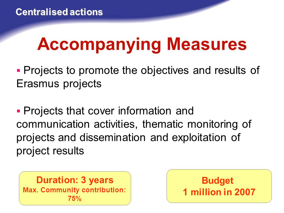 Accompanying Measures Centralised actions Budget 1 million in 2007  Projects to promote the objectives and results of Erasmus projects  Projects that cover information and communication activities, thematic monitoring of projects and dissemination and exploitation of project results Duration: 3 years Max.