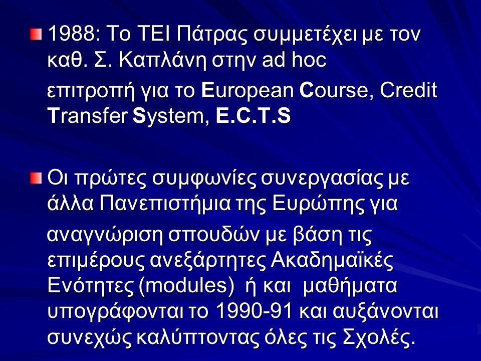 1988: Το ΤΕΙ Πάτρας συμμετέχει με τον καθ. Σ. Καπλάνη στην ad hoc επιτροπή για το European Course, Credit Transfer System, E.C.T.S επιτροπή για το Eur