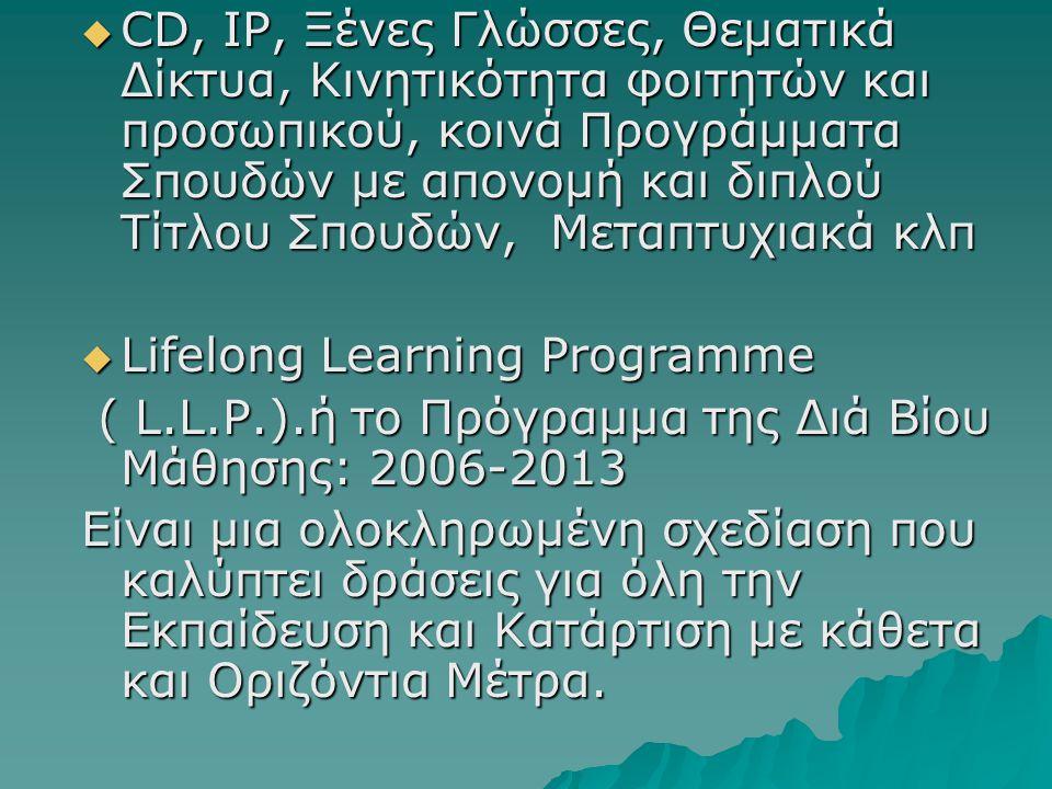  CD, IP, Ξένες Γλώσσες, Θεματικά Δίκτυα, Κινητικότητα φοιτητών και προσωπικού, κοινά Προγράμματα Σπουδών με απονομή και διπλού Τίτλου Σπουδών, Μεταπτ