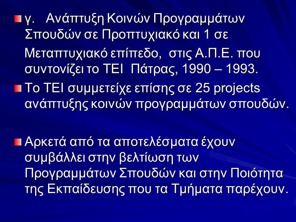 γ. Ανάπτυξη Κοινών Προγραμμάτων Σπουδών σε Προπτυχιακό και 1 σε Μεταπτυχιακό επίπεδο, στις Α.Π.Ε. που συντονίζει το ΤΕΙ Πάτρας, 1990 – 1993. Μεταπτυχι