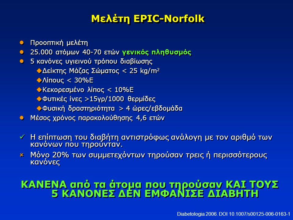 Μελέτη EPIC-Norfolk Προοπτική μελέτη 25.000 ατόμων 40-70 ετών γενικός πληθυσμός 5 κανόνες υγιεινού τρόπου διαβίωσης  Δείκτης Μάζας Σώματος < 25 kg/m
