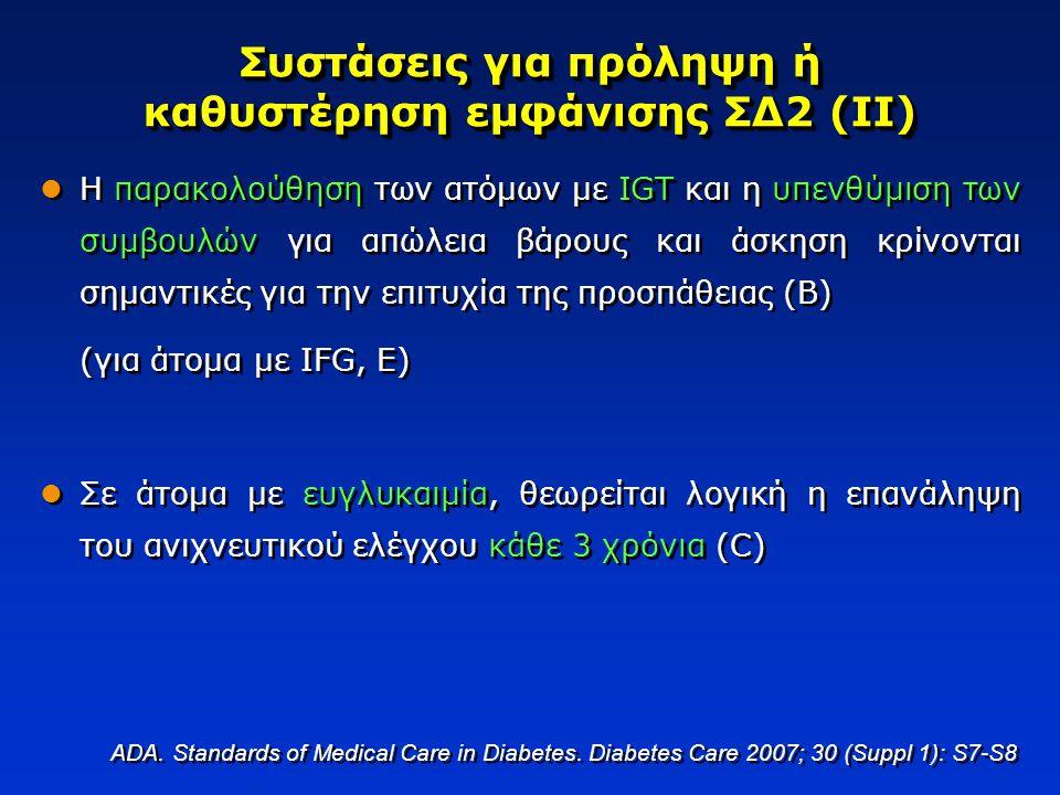 Συστάσεις για πρόληψη ή καθυστέρηση εμφάνισης ΣΔ2 (ΙΙ) Η παρακολούθηση των ατόμων με IGT και η υπενθύμιση των συμβουλών για απώλεια βάρους και άσκηση