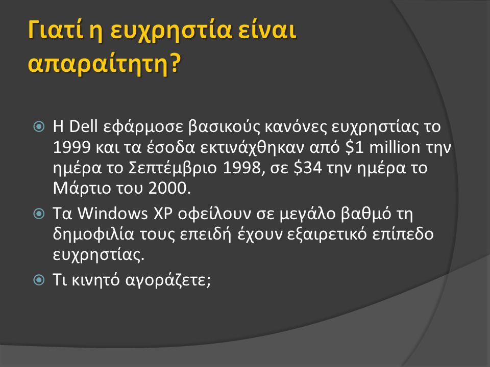  Η Dell εφάρμοσε βασικούς κανόνες ευχρηστίας το 1999 και τα έσοδα εκτινάχθηκαν από $1 million την ημέρα το Σεπτέμβριο 1998, σε $34 την ημέρα το Μάρτιο του 2000.