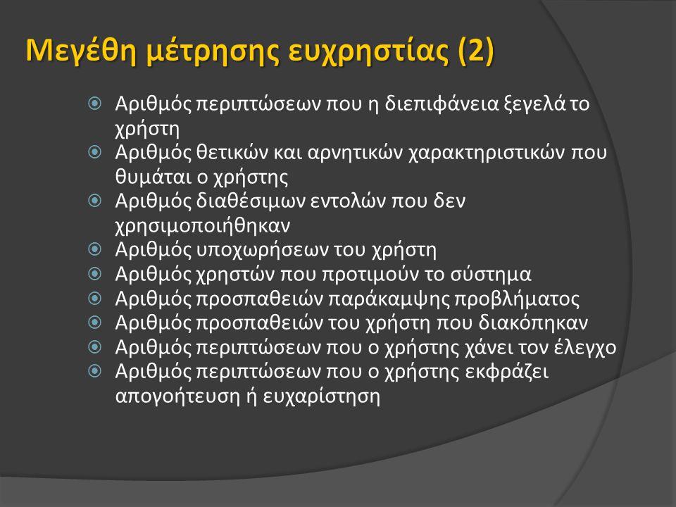  Αριθμός περιπτώσεων που η διεπιφάνεια ξεγελά το χρήστη  Αριθμός θετικών και αρνητικών χαρακτηριστικών που θυμάται ο χρήστης  Αριθμός διαθέσιμων εντολών που δεν χρησιμοποιήθηκαν  Αριθμός υποχωρήσεων του χρήστη  Αριθμός χρηστών που προτιμούν το σύστημα  Αριθμός προσπαθειών παράκαμψης προβλήματος  Αριθμός προσπαθειών του χρήστη που διακόπηκαν  Αριθμός περιπτώσεων που ο χρήστης χάνει τον έλεγχο  Αριθμός περιπτώσεων που ο χρήστης εκφράζει απογοήτευση ή ευχαρίστηση