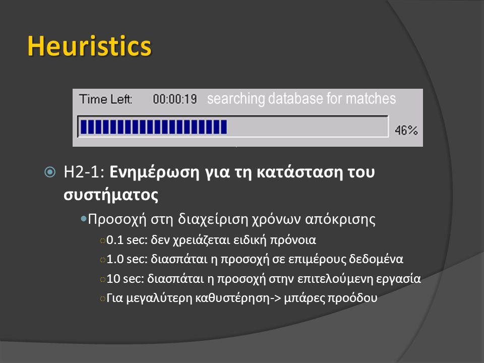  H2-1: Ενημέρωση για τη κατάσταση του συστήματος Προσοχή στη διαχείριση χρόνων απόκρισης ○ 0.1 sec: δεν χρειάζεται ειδική πρόνοια ○ 1.0 sec: διασπάται η προσοχή σε επιμέρους δεδομένα ○ 10 sec: διασπάται η προσοχή στην επιτελούμενη εργασία ○ Για μεγαλύτερη καθυστέρηση-> μπάρες προόδου searching database for matches