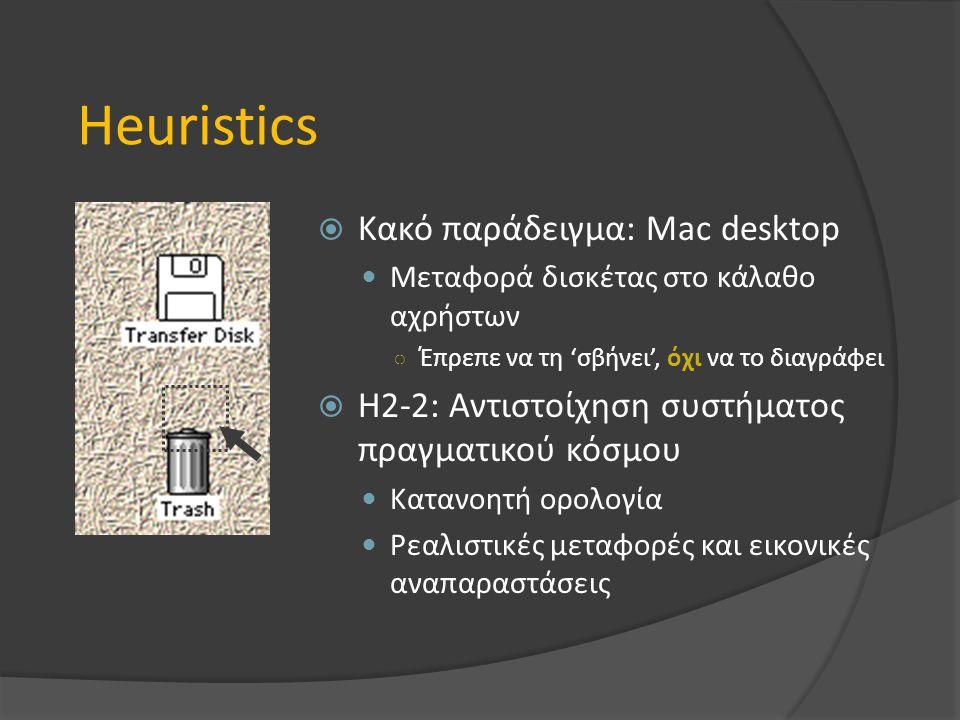 Heuristics  Κακό παράδειγμα: Mac desktop Μεταφορά δισκέτας στο κάλαθο αχρήστων ○ Έπρεπε να τη 'σβήνει', όχι να το διαγράφει  H2-2: Αντιστοίχηση συστήματος πραγματικού κόσμου Κατανοητή ορολογία Ρεαλιστικές μεταφορές και εικονικές αναπαραστάσεις