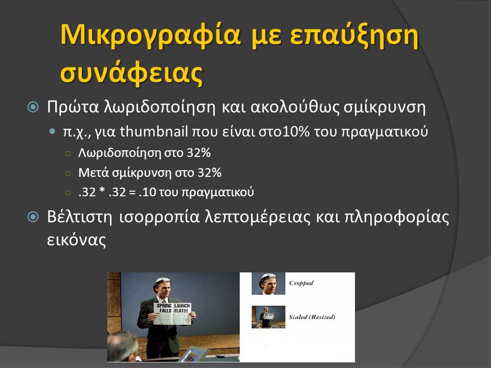  Πρώτα λωριδοποίηση και ακολούθως σμίκρυνση π.χ., για thumbnail που είναι στο10% του πραγματικού ○ Λωριδοποίηση στο 32% ○ Μετά σμίκρυνση στο 32% ○.32 *.32 =.10 του πραγματικού  Βέλτιστη ισορροπία λεπτομέρειας και πληροφορίας εικόνας