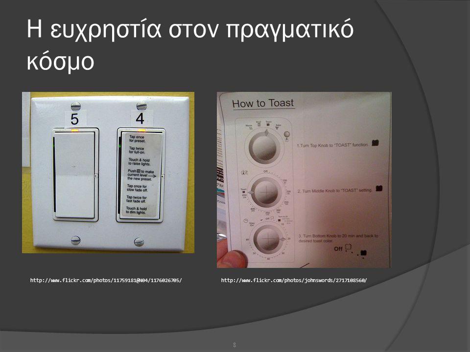 Στόχοι ευχρηστίας:  Η ευκολία εκμάθησης από τον πρωτόπειρο χρήστη  Ο ρυθμός (ταχύτητα) ολοκλήρωσης των ενεργειών  Η ικανοποίηση που προκαλεί το σύστημα στο χρήστη  Π.χ.
