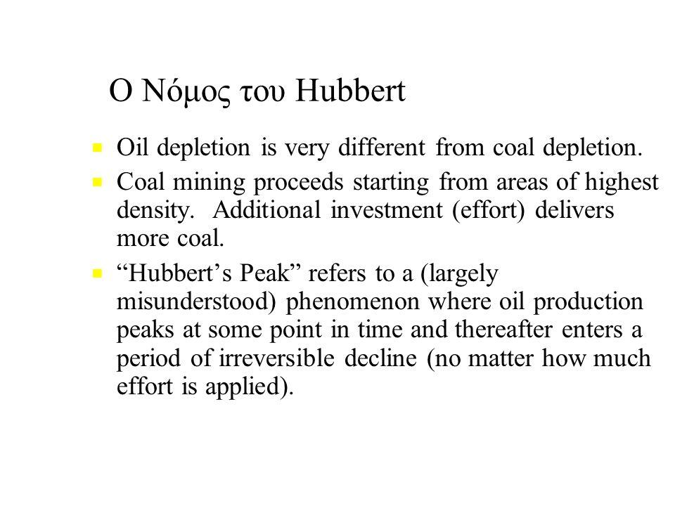Ο Νόμος του Hubbert ■ ■ Oil depletion is very different from coal depletion.