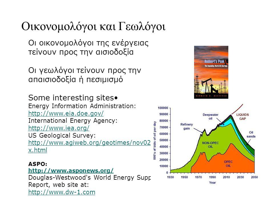 Οικονομολόγοι και Γεωλόγοι Οι οικονομολόγοι της ενέργειας τείνουν προς την αισιοδοξία Οι γεωλόγοι τείνουν προς την απαισιοδοξία ή πεσιμισμό Some interesting sites Energy Information Administration: http://www.eia.doe.gov/ http://www.eia.doe.gov/ International Energy Agency: http://www.iea.org/ US Geological Survey: http://www.agiweb.org/geotimes/nov02/inde x.html http://www.agiweb.org/geotimes/nov02/inde x.html ASPO: http://www.asponews.org/ Douglas-Westwood s World Energy Supply Report, web site at: http://www.dw-1.com http://www.dw-1.com