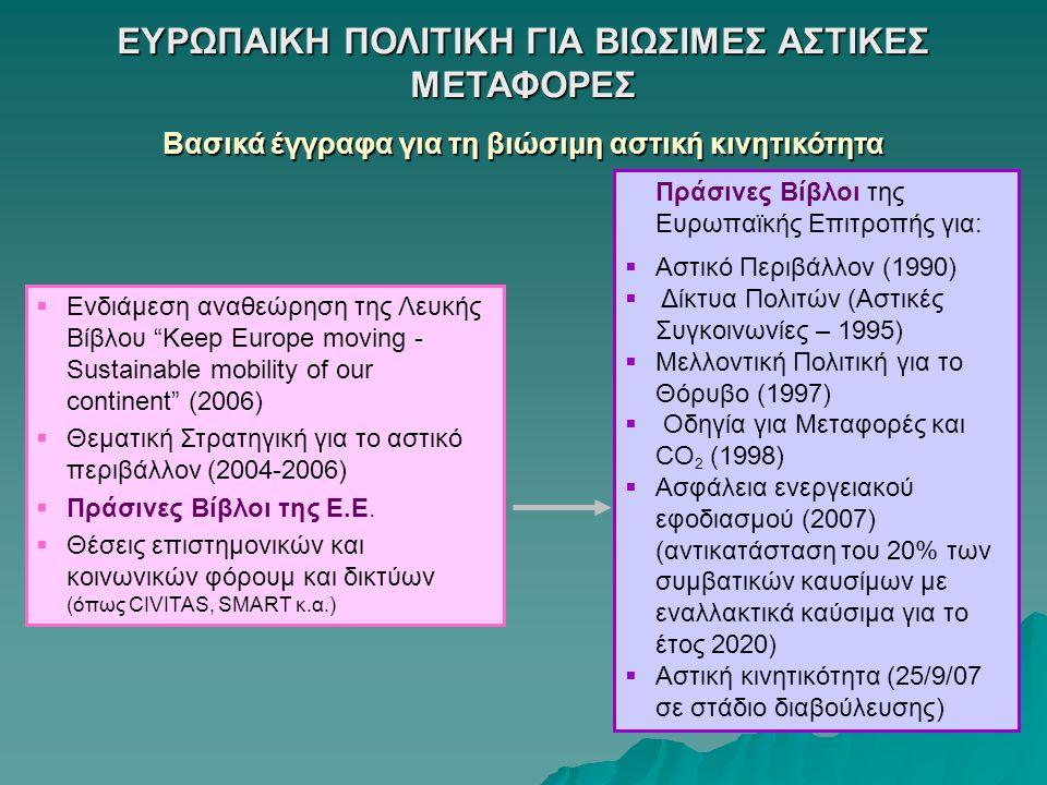 """ΕΥΡΩΠΑIΚΗ ΠΟΛΙΤΙΚΗ ΓΙΑ ΒΙΩΣΙΜΕΣ ΑΣΤΙΚΕΣ ΜΕΤΑΦΟΡΕΣ Βασικά έγγραφα για τη βιώσιμη αστική κινητικότητα  Ενδιάμεση αναθεώρηση της Λευκής Βίβλου """"Keep Eur"""