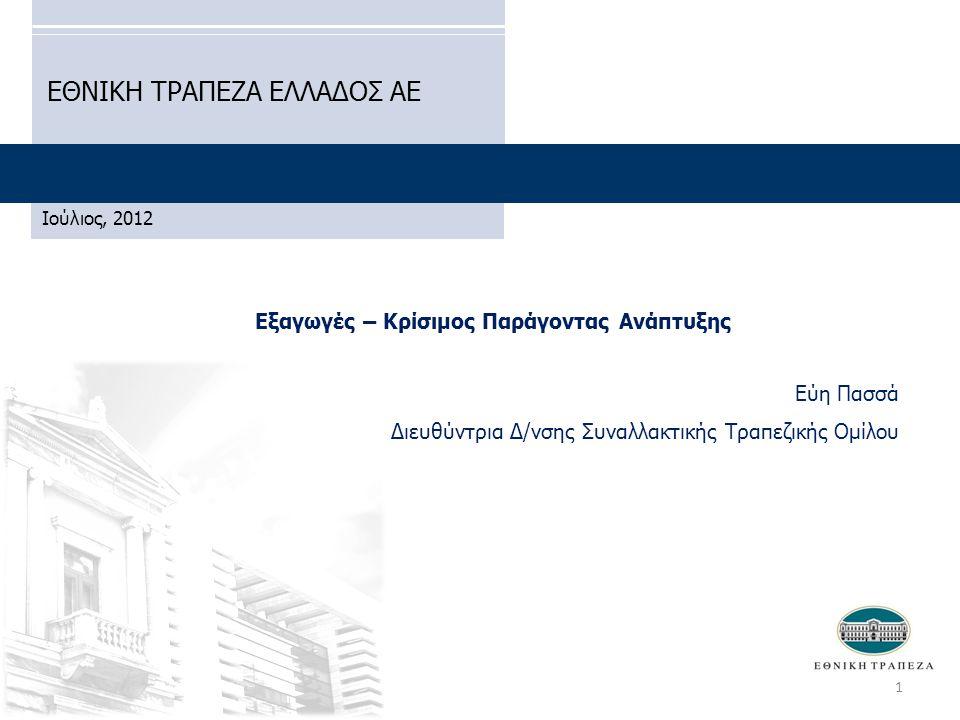 Εξαγωγές – Κρίσιμος Παράγοντας Ανάπτυξης Εύη Πασσά Διευθύντρια Δ/νσης Συναλλακτικής Τραπεζικής Ομίλου ΕΘΝΙΚΗ ΤΡΑΠΕΖΑ ΕΛΛΑΔΟΣ ΑΕ Ιούλιος, 2012 1