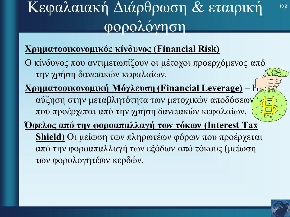 19-2 Κεφαλαιακή Διάρθρωση & εταιρική φορολόγηση Χρηματοοικονομικός κίνδυνος (Financial Risk) Ο κίνδυνος που αντιμετωπίζουν οι μέτοχοι προερχόμενος από