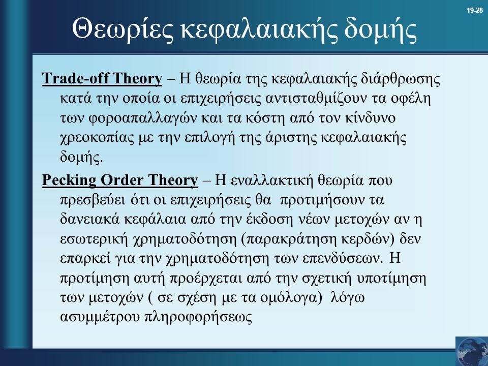 19-28 Θεωρίες κεφαλαιακής δομής Trade-off Theory – Η θεωρία της κεφαλαιακής διάρθρωσης κατά την οποία οι επιχειρήσεις αντισταθμίζουν τα οφέλη των φορο