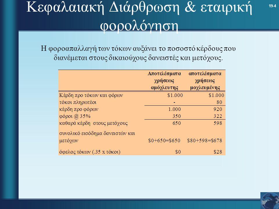 19-4 Κεφαλαιακή Διάρθρωση & εταιρική φορολόγηση Η φοροαπαλλαγή των τόκων αυξάνει το ποσοστό κέρδους που διανέμεται στους δικαιούχους δανειστές και μετ