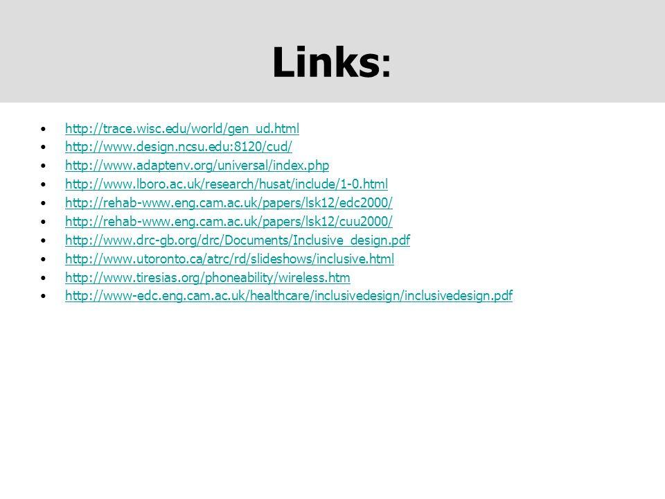 Links : http://trace.wisc.edu/world/gen_ud.html http://www.design.ncsu.edu:8120/cud/ http://www.adaptenv.org/universal/index.php http://www.lboro.ac.u