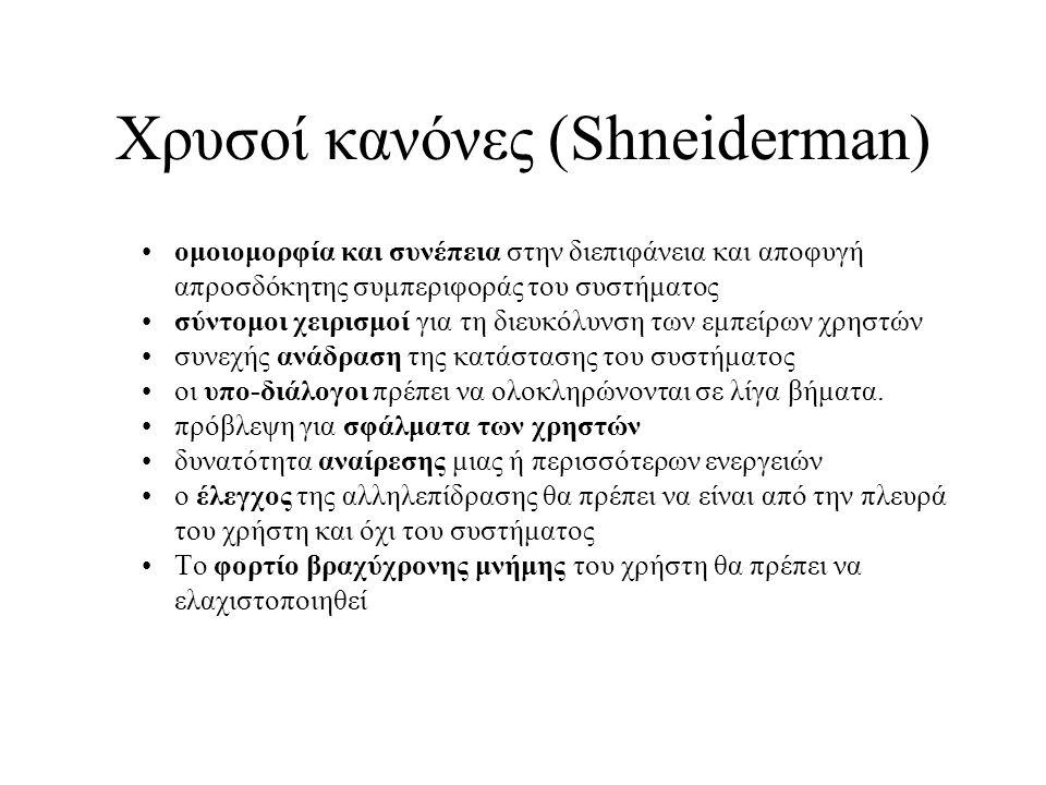 Χρυσοί κανόνες (Shneiderman) ομοιομορφία και συνέπεια στην διεπιφάνεια και αποφυγή απροσδόκητης συμπεριφοράς του συστήματος σύντομοι χειρισμοί για τη
