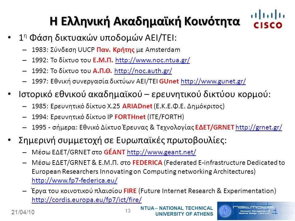 21/04/10 Η Ελληνική Ακαδημαϊκή Κοινότητα 1 η Φάση δικτυακών υποδομών ΑΕΙ/ΤΕΙ: – 1983: Σύνδεση UUCP Παν. Κρήτης με Amsterdam – 1992: Το δίκτυο του Ε.Μ.