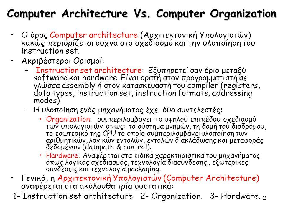 2 Computer Architecture Vs. Computer Organization Ο όρος Computer architecture (Αρχιτεκτονική Υπολογιστών) κακώς περιορίζεται συχνά στο σχεδιασμό και