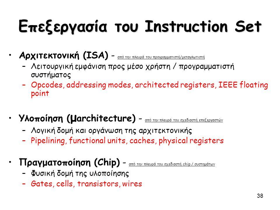 38 Επεξεργασία του Instruction Set Αρχιτεκτονική (ISA) - από την πλευρά του προγραμματιστή/μεταγλωτιστή –Λειτουργική εμφάνιση προς μέσο χρήστη / προγρ