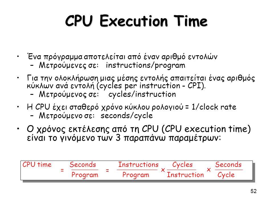52 CPU Execution Time Ένα πρόγραμμα αποτελείται από έναν αριθμό εντολών –Μετρούμενες σε: instructions/program Για την ολοκλήρωση μιας μέσης εντολής απ
