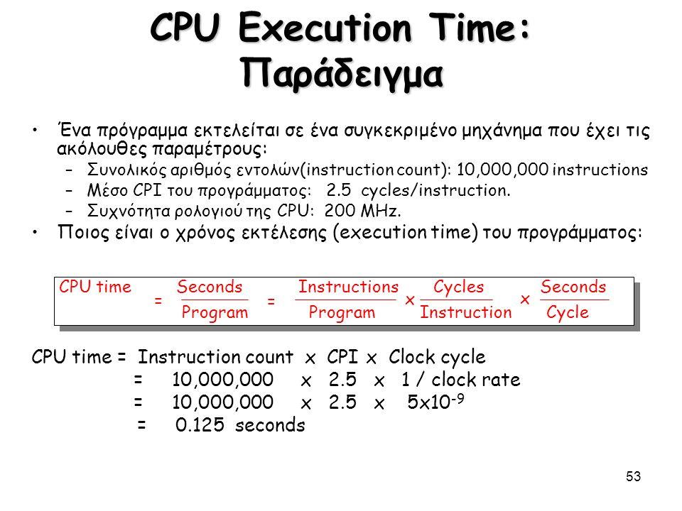 53 CPU Execution Time: Παράδειγμα Ένα πρόγραμμα εκτελείται σε ένα συγκεκριμένο μηχάνημα που έχει τις ακόλουθες παραμέτρους: –Συνολικός αριθμός εντολών
