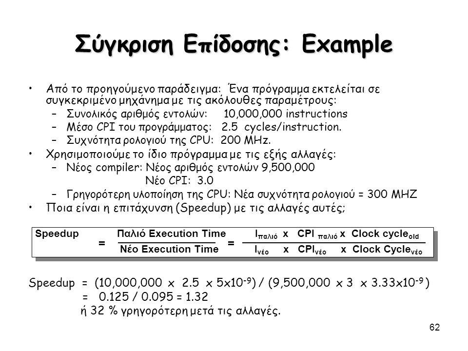 62 Σύγκριση Επίδοσης: Example Από το προηγούμενο παράδειγμα: Ένα πρόγραμμα εκτελείται σε συγκεκριμένο μηχάνημα με τις ακόλουθες παραμέτρους: –Συνολικό